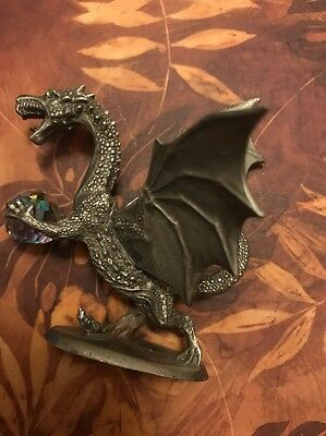 Rawcliffe Pewter Green Eye Crystal Holding Dragon Collectible