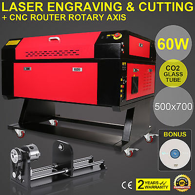 60w co2 Laser Engraver Cutting Machine Dsp Control Rotary Axis A-Axis 3-Jaw