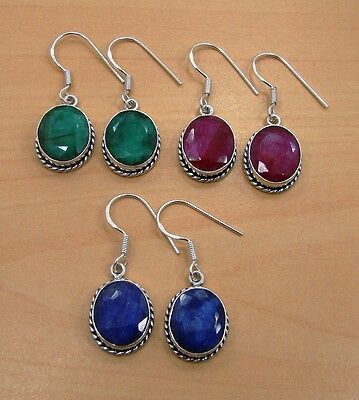 Wholesale 3Pair Lot 925 Solid Sterling Silver Ruby,emerald,sapphire Earring!