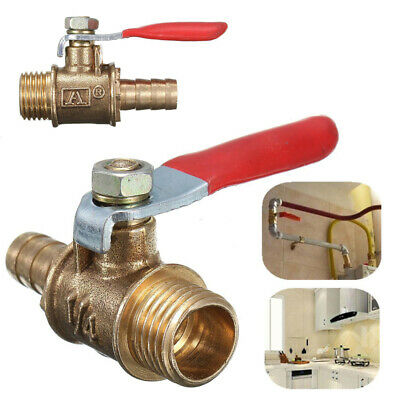 1/4'' Brass Ball Valve Male Threaded Shut-Off Drain PT Gas Air Fluid Red Handle