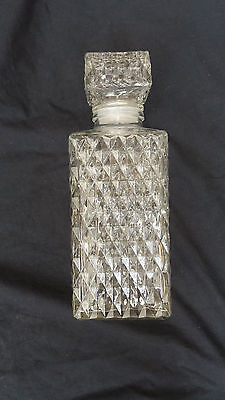 Vintage Decanter Clear Diamond Cut Glass