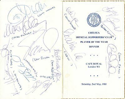 Chelsea FC : 1981 Player of the Year Dinner menu - autographed by 16