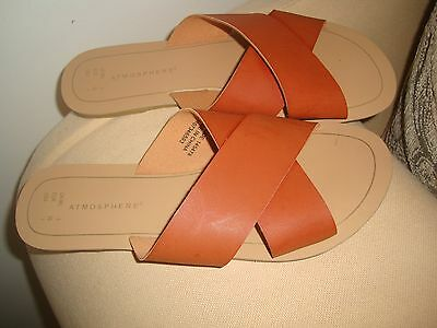 Atmosphere Tan  Faux Leather  Mules/slippers - Uk Size 5 ( Eur 38)