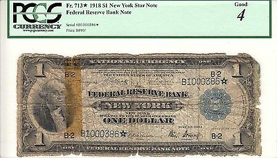 1918 Star $1 PCGS G4 Washington Federal Reserve Large Star Note New York FR 713*