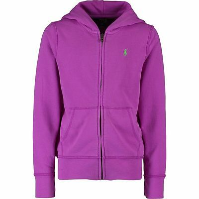 RALPH LAUREN POLO Girl's Zip-Up Hoodie - Magenta Colour - size 7 8-10 years