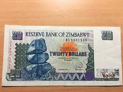 Zimbabwe $20 Bank note