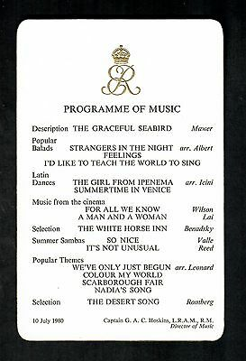 ROYAL MUSIC PROGRAMME  QUEEN ELIZABETH THE QUEEN MOTHER 10th JULY 1980