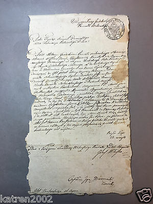 Unique 1830 Year Antique Russian Poland Manuscript Document Signed Watermark