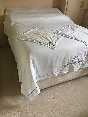 Vintage Mid Century French Blue White Embroidered Lace Sheet Square Pillow Cases