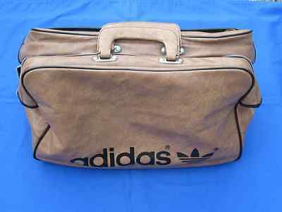 adidas rare vintage oldschool brown leather  sports bag holdall  70`s  80`s new