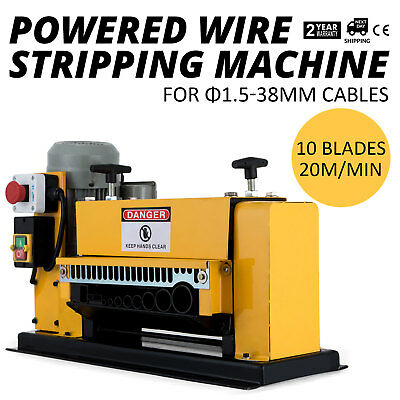 Powered Wire Stripping Machine 1.5-38mm 10 Blades  Metal Cable Industrial GOOD
