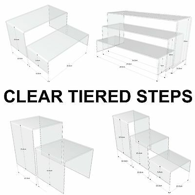 Acrylic Perspex Clear Display Tiered Steps Nesting Plinths Risers Stands