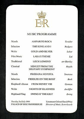 ROYAL MUSIC PROGRAMME  QUEEN ELIZABETH II PALACE OF HOLYROOD HOUSE 2nd JULY 1996