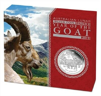 2015 $1 Australian Lunar Year of the Goat 1oz Silver Proof Coin - Perth Mint