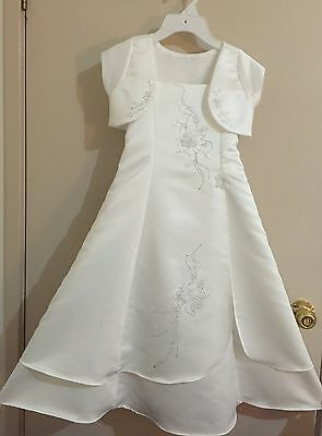 First Holy Communion Dress/ Flower Girl Dress Lyra White Size 8