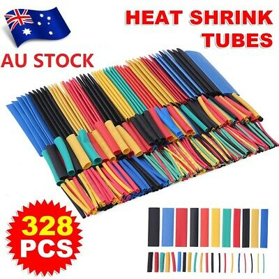 328Pcs 8 Sizes Assortment Ratio 2:1 Heat Shrink Tubing Sleeving Wrap Wire Kit AU