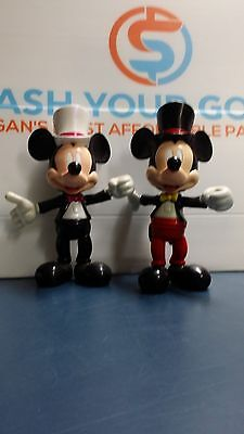 Disney Vintage Mickey Mouse's in top hat and tuxedo figurines x 2