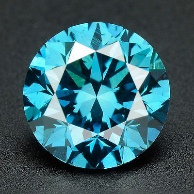 CERTIFIED .072 cts. Round Cut Vivid Blue Color SI Loose Real/Natural Diamond 34D