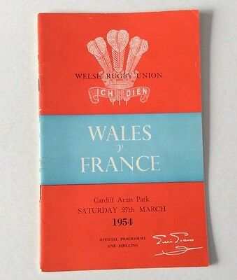 Wales V France 1954 Official  Programme Very Good Condition.