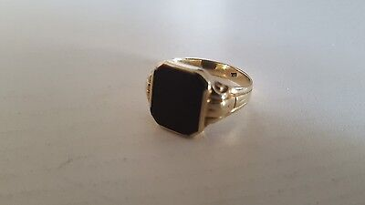 333 Gold Siegelring - Onyx - Gold - Ring - 3,78g - Vintage