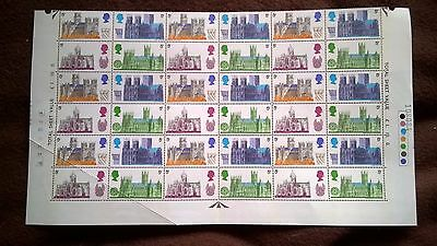1969 BRITISH CATHEDRAL 5d STAMPS - UNUSED SHEET OF 36 STAMPS.
