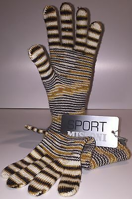 Missoni Sport Wool Knit Gloves, Made In Italy, Size XL