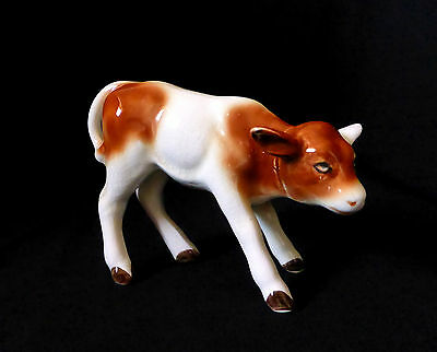 "SYLVAC ENGLAND antique / vintage 4.6"" Porcelain figurine COW / CALF ornament"