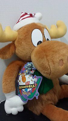 1996 Large Bullwinkle Christmas Stuffed Animal Plush with Rocky Ornament by MCA