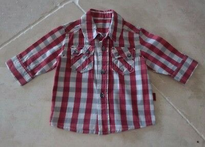 Baby Boys Red and White Check Pumpkin Patch Shirt Top Age 0-3 months