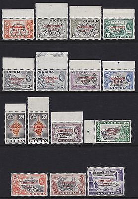 Cameroons 1960-61 set of 12 + 2 shades & 6d perf - fresh unmounted mint