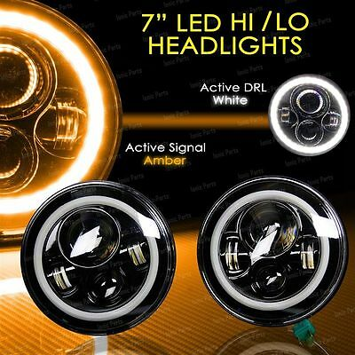 2x 7 INCH MOTORCYCLE PROJECTOR DAYMAKER Angel Halo Eyes LED HEADLIGHT For Harley