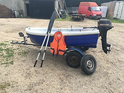 9' Reconditioned Fishing, Rowing, Motor boat, C/W outboard, oars, life jacket
