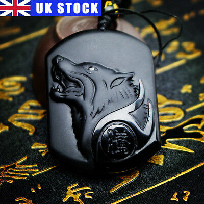 Black Obsidian Carving Wolf Head Good Luck Handwork Carved Pendant with Necklace