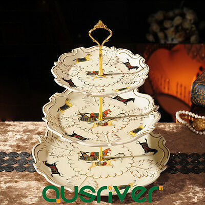 3-Tier Luxury Porcelain Cupcake Stand Dessert Platter Holder Wedding Party