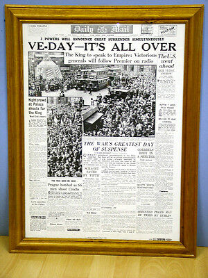 Daily Mail 1945 VE Day Headlines Large Framed Print WWII End  WarRAF Army Navy