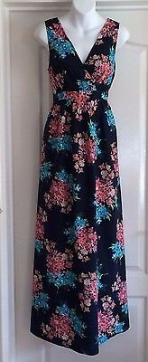 New~Jojo Maman Bebe~Cotton Maternity Maxi Long Dress 14 Summer Navy Pink Floral