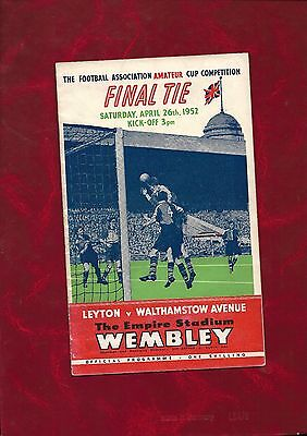 1952 amateur cup final programme Leyton v Walthamstow Avenue