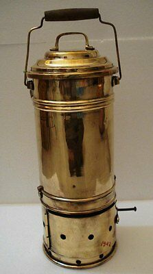 Real ANTIQUE Lunch/ Tiffin Box with Burning POT  -BRASS -Lunch Containers (1942)