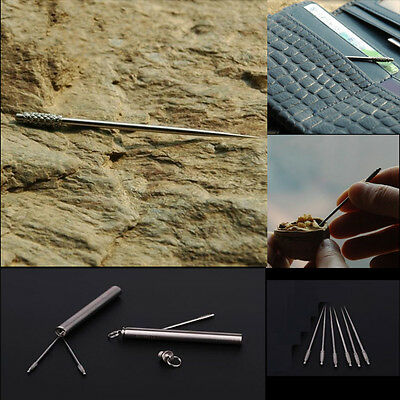 Portable Outdoor Titanium Alloy Toothpick+ Waterproof Holder Traveling Kit Tool