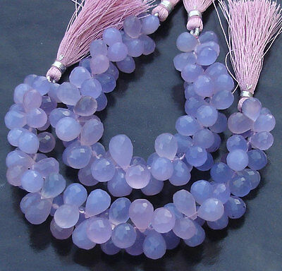 6 Inches Lavendar Blue Chalcedony Faceted Drops Briolettes Loose Gemstone