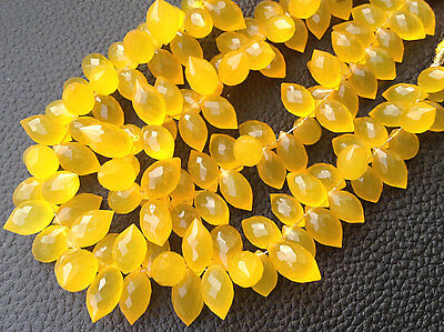 7 Inches Yellow Chalcedony Faceted Dew Drops Briolettes 11-12 MM Loose Gemstone