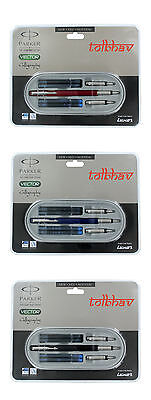 Parker Vector Calligraphy Standard CT Fountain Pen Red Blue Black Body Free Ink