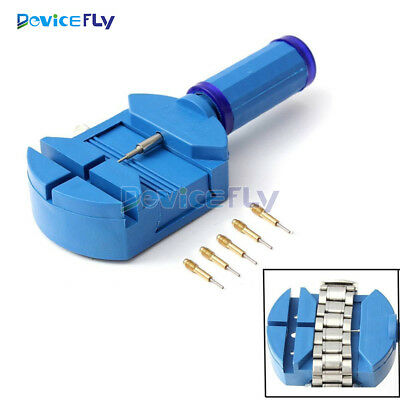 Wrist Bracelet Watch Band Link Strap Remover Adjuster +5 Pins Repair Tool Blue