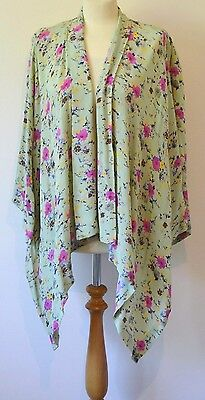 ASOS MATERNITY Size 12 Green Floral Kimono Style Lightweight Summer Jacket Top