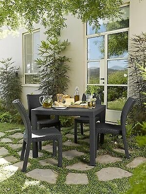 Keter Garden Dining Table 4 Seater Square Rattan Patio Indoor Outdoor Furniture