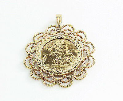 1909 Half Sovereign Pendant And Mount, Hallmarked, 8.7G, Second Hand Jewellery