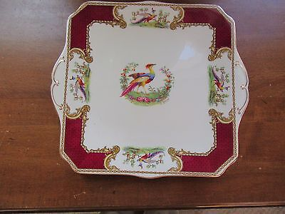 "Myott STAFFORDSHIRE Chelsea Bird England Square Dinner 10.5"" Plate Signed Robert"