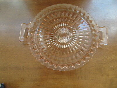 Depression Glass Pink Cake Plate Jeannette Windsor Diamond With Handles