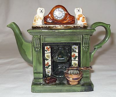 PAUL CARDEW- Small Green Victorian Fireplace Hand-painted Teapot