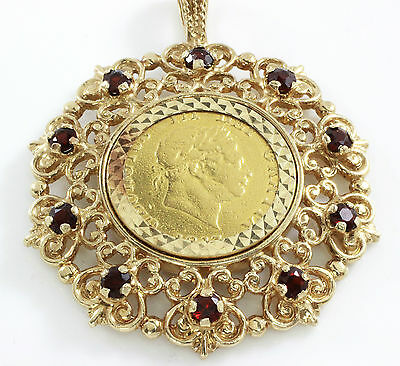 1817 Half Sovereign Coin And 9Ct Gold Pendant, Hallmark, 14.0G Pre-Owned, Garnet